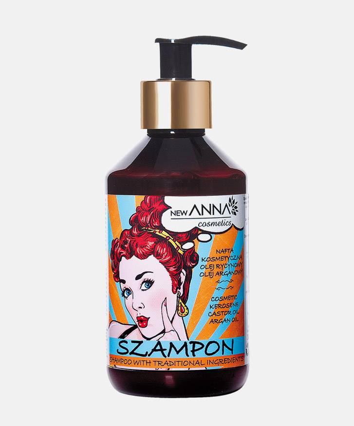 NEW ANNA COSMETICS, RETRO Szampon  z naftą kosmetyczną, olejem arganowym i olejem rycynowym do włosów bardzo zniszczonych 300 ml