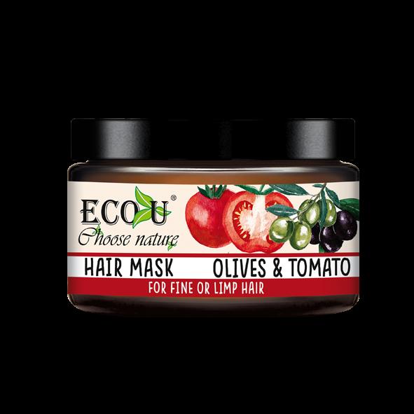 ECOU Maska do włosów z ekstraktem z pomidora i oliwek do włosów cienkich i pozbawionych objętości 250 g