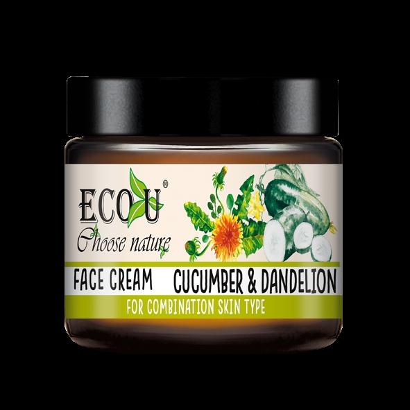 ECOU Krem do twarzy z ekstraktem z mniszka i ogórka do cery mieszanej 30 ml