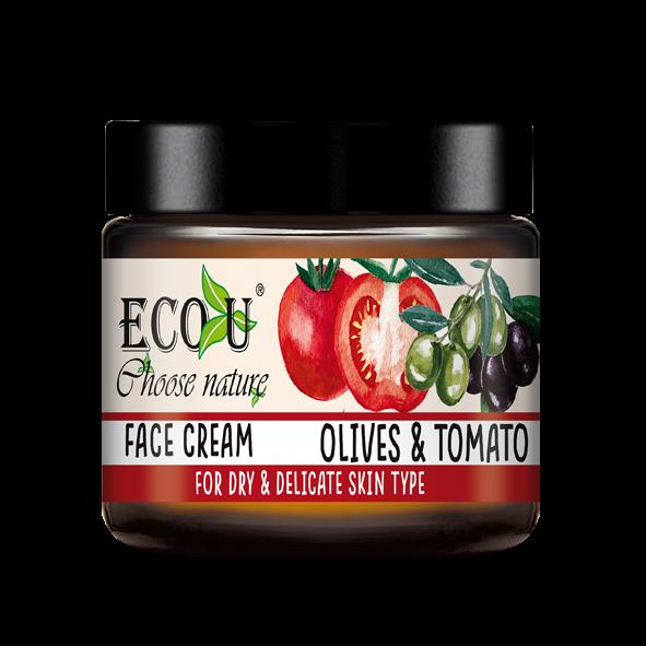 ECOU Krem do twarzy z ekstraktem z pomidora i oliwek do cery suchej i delikatnej 30 ml