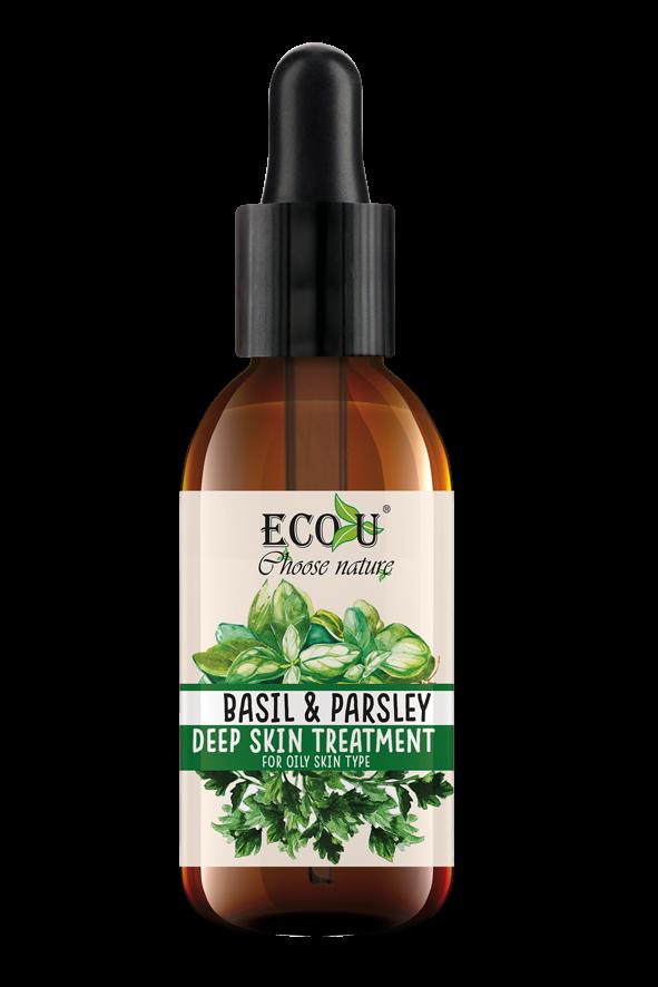 ECOU Kuracja do twarzy z ekstraktem bazylii i pietruszki do cery tłustej 30 ml