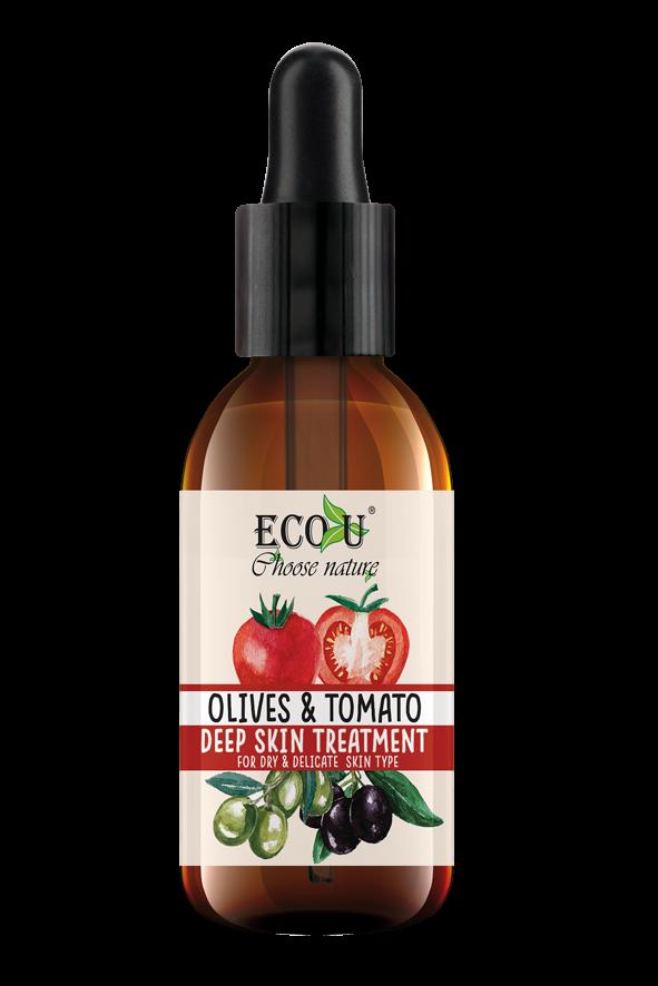ECOU Kuracja do twarzy z ekstraktem pomidora i oliwek do cery suchej i delikatnej 30 ml